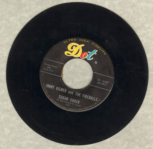 Gilmer, Jimmy & The Fireballs - Sugar Shack/My Heart Is Free (first pressing) - VG7/ - 45 rpm Records