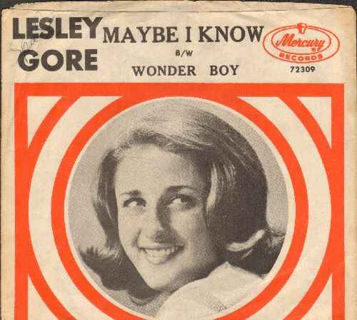 Gore, Lesley - Maybe I Know/Wonder Boy (with picture sleeve) - VG7/EX8 - 45 rpm Records