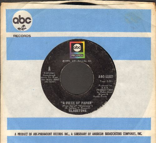 Gladstone - A Piece Of Paper (Makes It Alright)/Livin' In The Country (with ABC company sleeve) - EX8/ - 45 rpm Records