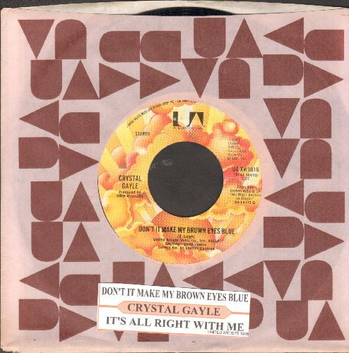 Gayle, Crystal - Don't It Make My Brown Eyes Blue/It's All Right With Me (with juke box label and United Artists company sleeve) - EX8/ - 45 rpm Records