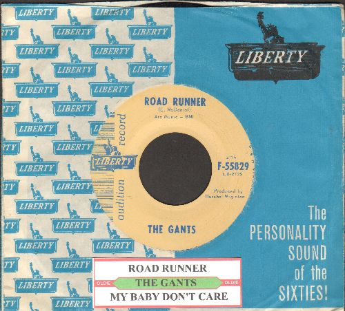 Gants - Road Runner/My Baby Don't Care (DJ advance pressing with juke box label and RARE vintage Liberty company sleeve) - NM9/ - 45 rpm Records