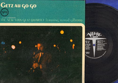 Getz, Stan Quartet featuring Asreud Gilberto - Getz Au Go Go: One Note Samba, Corcovado, Summertime, Here's That Rainy Day (vinyl MONO LP record, gate-fold cover) - EX8/EX8 - LP Records
