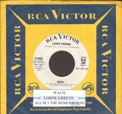 Greene, Lorne - Waco/All But The Remembering (DJ advance pressing with vintage RCA company sleeve and juke box label) - EX8/ - 45 rpm Records
