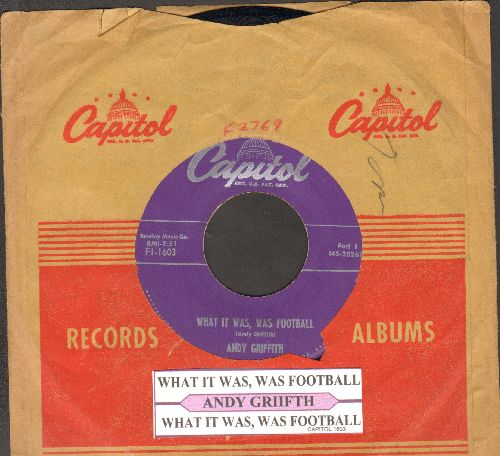 Griffith, Andy - What It Was, Was Football (Parts 1 + 2) (first pressing with juke box label and Capitol company sleeve) - EX8/ - 45 rpm Records