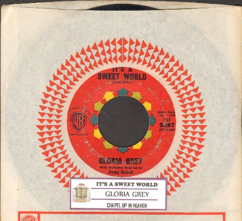 Grey, Gloria - It's A Sweet World/Chapel In Heaven (RARE Vintage Girl Sound 2-sider with juke box label and Warner Brothers company sleeve) - VG7/ - 45 rpm Records