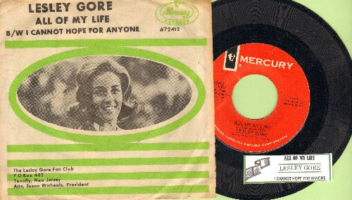Gore, Lesley - All Of My Life/I Cannot Hope For Anyone (with juke box label and picture sleeve) - NM9/EX8 - 45 rpm Records