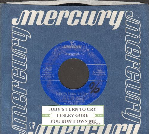 Gore, Lesley - Judy's Turn To Cry/You Don't Own Me (double-hit re-issue with juke box label and company sleeve) - NM9/ - 45 rpm Records