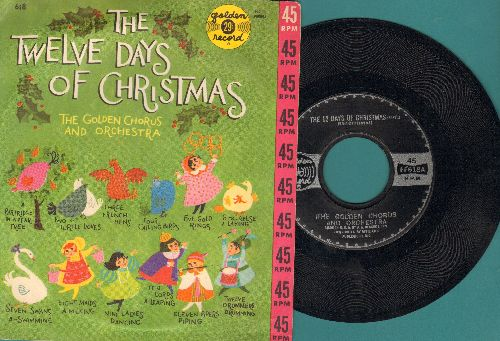Golden Chorus & Orchestra - The 12 Days Of Christmas (Parts 1 + 2) (with picture cover) - NM9/EX8 - 45 rpm Records