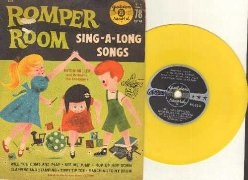 Sandpipers, Mitch Miller & Orchestra - Romper Room Sing-Along Songs (Vintagte 5 inch 78rpm Little Golden Record with picture cover) - EX8/VG7 - 78 rpm