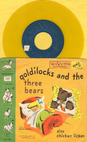 Riggs, Glenn - Goldilocks and the Three Bears/Chicken Licken (yellow vinyl 45rpm record with picture cover) - VG7/VG7 - 45 rpm Records