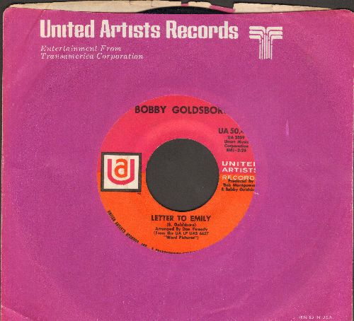 Goldsboro, Bobby - Letter To Emily/Glad She's A Woman (with United Artists company sleeve) - VG7/ - 45 rpm Records