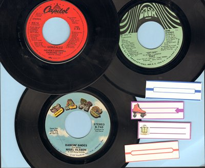 Foxy, Gonzales, Nigel Olsson - Disco 3-Pack: First issue 45s include hits Haven't Stopped Dancing Yet, Get Off and Dancin' Shoes. Shipped in white paper sleeves with 4 blank juke box labels. - EX8/ - 45 rpm Records