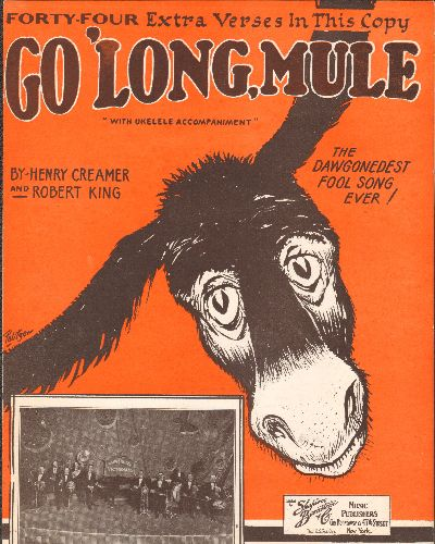 Pollock, Ralph & The Victorians - Go 'Long Mule - Vintage SHEET MUSIC of the Classic Novelty Song with 44 Extra Verses (NICE condition, almost 100 yearsa old!) - EX8/ - Sheet Music