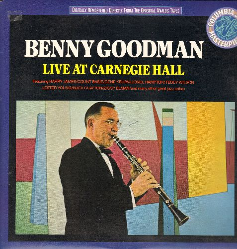 Goodman, Benny - Benny Goodman Live At Carnegie Hall: Blue Skies, Body And Soul, One O'Clock Jump (2 binyl LP records, gate-fold cover, re-issue of vintage recordings) - NM9/NM9 - LP Records