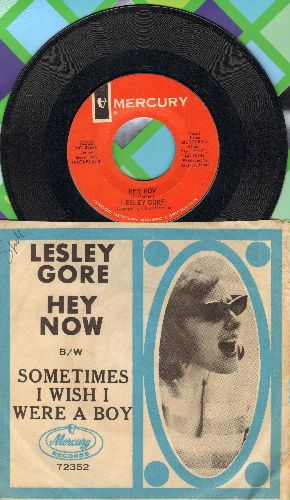 Gore, Lesley - Hey Now/Sometimes I Wish I Were A Boy (with juke box label and picture sleeve)(bb) - EX8/VG7 - 45 rpm Records