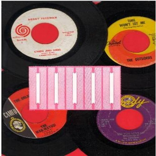 Contours, Orlons, Bobby Freeman, Outsiders - 1960s Dance Party 4-Pack: First issue 45s, all in very good or better condition. Hits include Do You Love Me, Time Won't Let Me, C'Mon And Swim and The Wah-Watusi. GREAT for a juke box! Shipped in plain white p