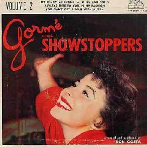 Gorme, Eydie - Gorme Sings Showstoppers - Volume 2: My Funny Valentine/Guys And Dolls/Always True To You In My fashion/You Can't Get A Man With A Gun (Vinyl EP record with picture cover) - NM9/EX8 - 45 rpm Records