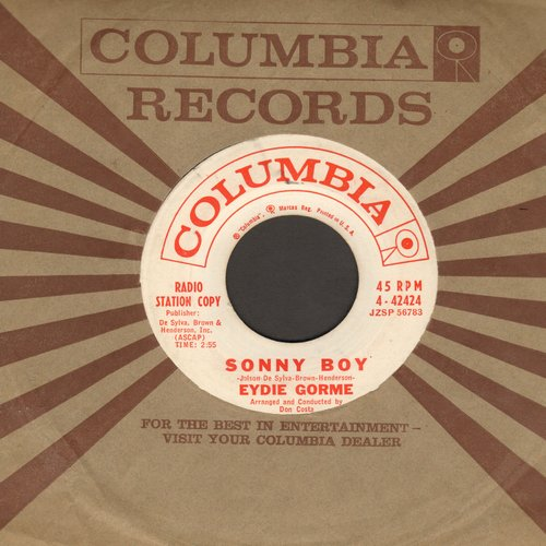 Gorme, Eydie - Sonny Boy/Yes My Darling Daughter (DJ advance pressing with Columbia company sleeve) - VG7/ - 45 rpm Records