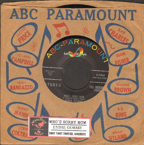 Gorme, Eydie - Who's Sorry Now/Toot Toot Tootsie, Goodbye (RARE STEREO pressing with vintage ABC-Paramount company sleeve) - NM9/ - 45 rpm Records