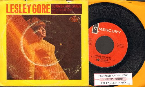 Gore, Lesley - Summer And Sandy/I'm Falling Down (with picture sleeve and juke box label)(bb) - NM9/VG6 - 45 rpm Records