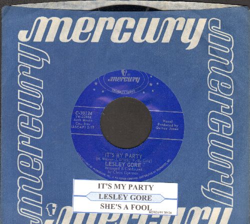 Gore, Lesley - It's My Party/She's A Fool (double-hit re-issue with juke box label and Mercury company sleeve) - NM9/ - 45 rpm Records