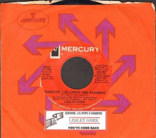 Gore, Lesley - Sunshine, Lollipops And Rainbows/You've Come Back (with Mercury company sleeve and juke box label) - EX8/ - 45 rpm Records