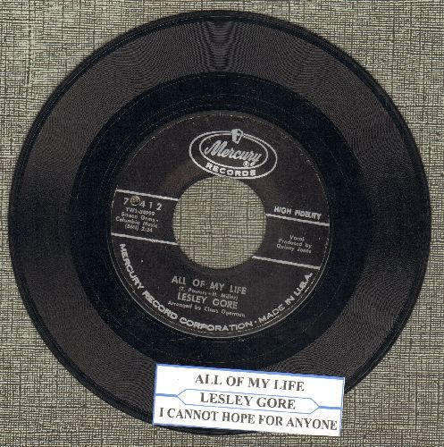 Gore, Lesley - All Of My Life/I Cannot Hope For Anyone (with juke box label) (bb) - EX8/ - 45 rpm Records
