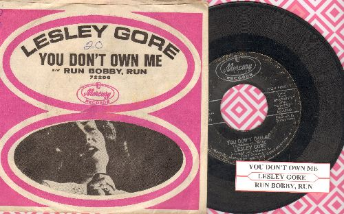 Gore, Lesley - You Don't Own Me/Run Bobby Run (with picture sleeve and juke box label) - VG7/EX8 - 45 rpm Records