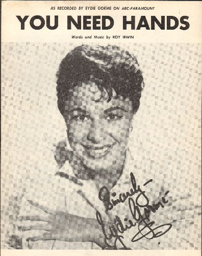Gorme, Eydie - You Need Hands - SHEET MUSIC for the song made popular by Eydie Gorme (This is SHEET MUSIC, not any other kind of media!) - EX8/ - 45 rpm Records