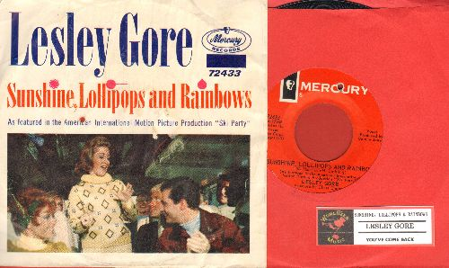 Gore, Lesley - Sunshine, Lollipops And Rainbows/You've Come Back (with picture sleeve and juke box label, bb) - EX8/VG6 - 45 rpm Records