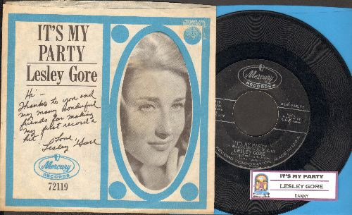 Gore, Lesley - It's My Party/Danny (with picture sleeve and juke box label) - EX8/NM9 - 45 rpm Records