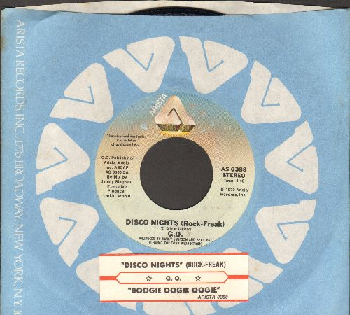 G.Q. - Boogie Oogie Ooggie/Disco Nights (Rock Freak) (with juke box label and Arista company sleeve) - NM9/ - 45 rpm Records