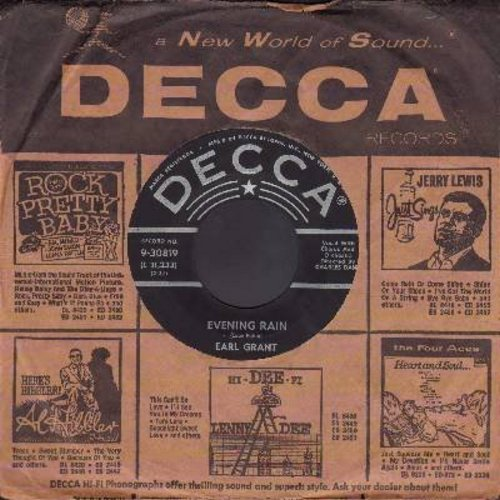 Grant, Earl - Evening Rain (RARE Vocal version)/Evening Rain (Instrumental) (with vintage Decca company sleeve) - EX8/ - 45 rpm Records