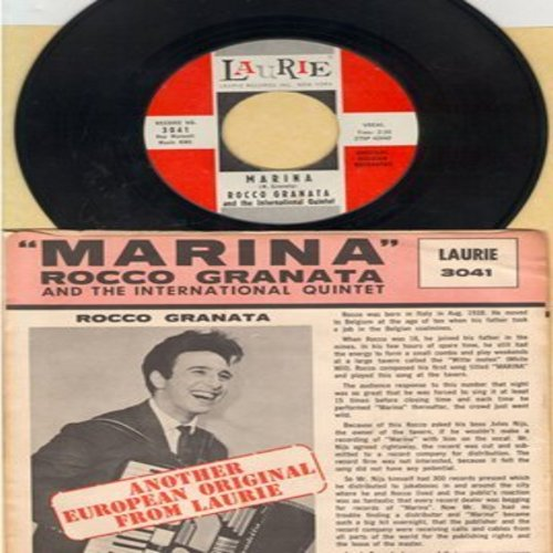 Granata, Rocco - Marina (Marina! Marina! Marina!)/Manuela (Marina was one of the most popular Italian Pop songs of Early Rock & Roll Era!) (MINT condition vinyl with RARE Laurie picture sleeve) - M10/EX8 - 45 rpm Records