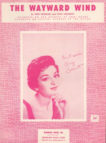 Grant, Gogi - The Wayward Wind - Vintage SHEET MUSIC for the Hit Song by Gogi Grant - BEAUTIFUL cover portrait of the singer, suitable for framing! - NM9/ - Sheet Music