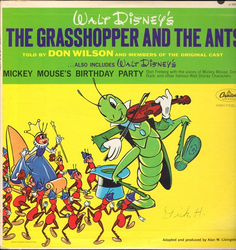 Disney - Grasshopper And The Ants - Told by Don Wilson and mambers of the original cast/Walt Disney's Mickey Mouse's Birthday Party (Vinyl LP record) - VG7/EX8 - LP Records