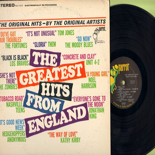 Them, Zombies, Los Bravos, Fortunes, Kathy Kirby, others - The Greatest Hits From England: Gloria, She's Not There, Black Is Black, It's Not Unusual, Go Now (Vinyl STEREO LP record) - NM9/EX8 - LP Records