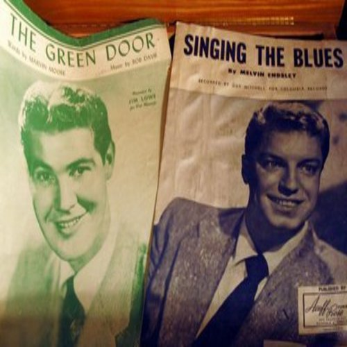 Lowe, Jim, Guy Mitchell - The Green Door/Singing The Blues - 2 vintage Sheet Music for the price of 1! (This is SHEET MUSIC, not any other kind of media!) - VG7/ - Sheet Music