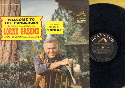 Greene, Lorne - Welcome To The Ponderosa: Bonanza, An Ol' Tin Cup, Ghost Riders In The Sky, Ringo, Saga Of The Ponderosa (Vinyl STEREO LP record) - EX8/VG7 - LP Records