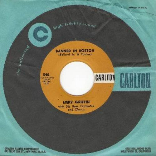 Griffin, Merv - Banned In Boston/The World We Love In (MINT condition with vintage Carlton company sleeve) - EX8/ - 45 rpm Records