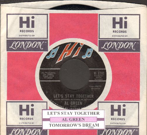 Green, Al - Let's Stay Together/Tomorrow's Dream (with juke box label and company sleeve) - NM9/ - 45 rpm Records