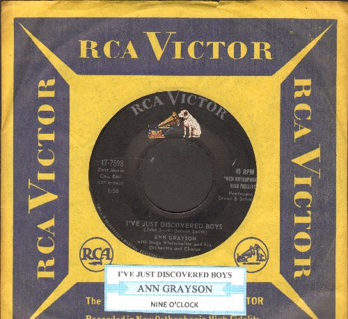 Grayson, Ann - I've Just Discovered Boys/Nine O'Clock (with juke box label and vintage RCA company sleeve) - NM9/ - 45 rpm Records