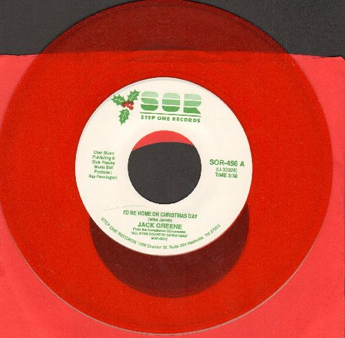 Greene, Jack - I'd Be Home On Christmas Day/My Favorite Time Of Year (RED Vinyl pressing) - NM9/ - 45 rpm Records