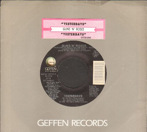 Guns N' Roses - Yesterdays (3:13 LP version)/Yesterdays (4:10 LIVE Las Vegas version)(with juke box label and company sleeve) - NM9/ - 45 rpm Records