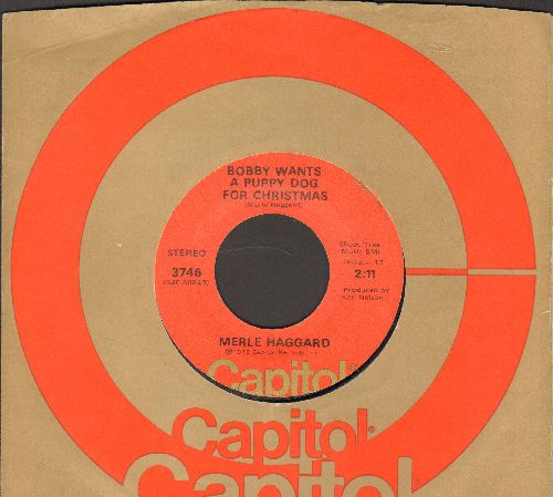 Haggard, Merle - If We Make It Through December/Bobby Wants A Puppy Dog For Christmas (with Capitol company sleeve) - EX8/ - 45 rpm Records