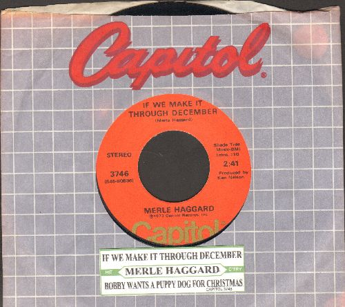Haggard, Merle - If We Can Make It Through December/Bobby Wants A Puppy For Christmas (with juke box label and Capitol company sleeve) - EX8/ - 45 rpm Records
