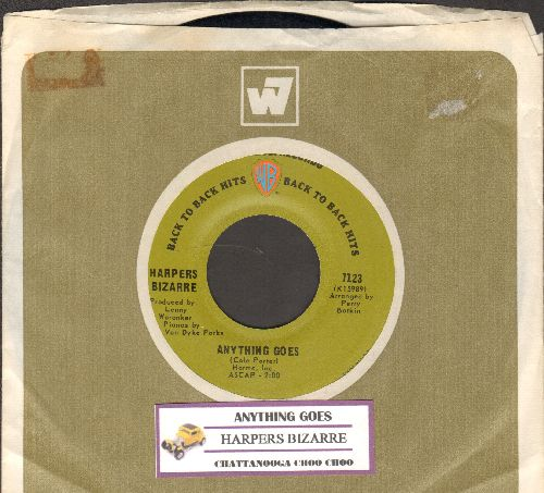 Harpers Bizarre - Anything Goes (FANTASTIC 60s Bubblegum-Version of the Cole Porter Standard)/Chattanooga Choo Choo (early double-hit re-issue with juke box label and Warner Brothers company sleeve) - NM9/ - 45 rpm Records