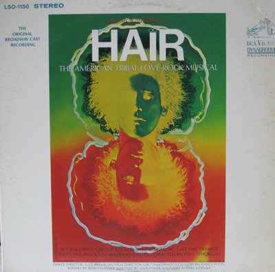 Hair - Hair - The American Tribal Love-Rock Musical (Original Broadway Cast Recording, vinyl STEREO LP record) - EX8/VG7 - LP Records