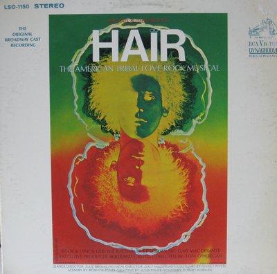 Hair - Hair - The American Tribal Love-Rock Musical (Original Broadway Cast Recording, vinyl STEREO LP record) - EX8/VG7 - LP Records