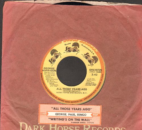 Harrison, George - All Those Years Ago/Writing's On The Wall (with juke box label and company sleeve) - NM9/ - 45 rpm Records